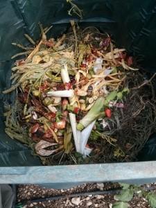 Scarti di ortaggi con  sfalci d'erba